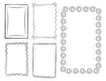 Rektangulär klotterlinje Art Frames Vector Set Royaltyfri Fotografi