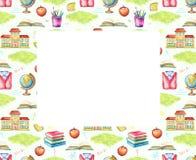 Rektangulär ram för vattenfärg med skolämnar royaltyfri illustrationer