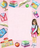Rektangulär ram för vattenfärg med skolämnar och flickan vektor illustrationer