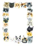 Rektangulär ram från inhemska katter Dragen illustration för vattenfärg hand stock illustrationer