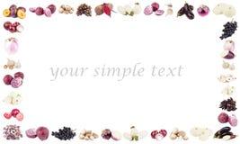Rektangulär ram som göras från olika violetta och vita frukter och grönsaker Arkivfoto