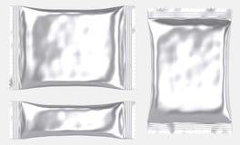 Rektangulär tom foliepåseplastpåse royaltyfri illustrationer