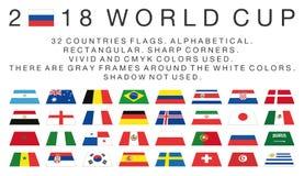 Rektangulära flaggor av länder för 2018 världscup royaltyfri illustrationer