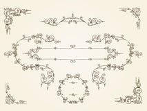 Rektangulära gränsramar för dekorativ tappning vektor illustrationer