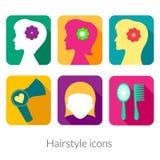 Rektangulära symboler för frisyr med rundade hörn stock illustrationer