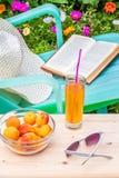 Relájese en el jardín floreciente en un día de verano Imagen de archivo