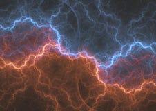 Relámpago abstracto del fractal del fuego y del hielo Fotografía de archivo libre de regalías