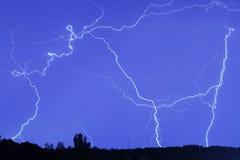 Relámpago en el cielo de la lluvia Fotografía de archivo