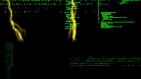 Relámpago y códigos de programa almacen de metraje de vídeo
