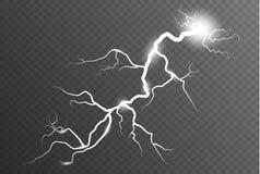 Relámpago y tempestad de truenos Efecto luminoso brillante mágico del resplandor y de la chispa Ilustración del vector fotos de archivo libres de regalías