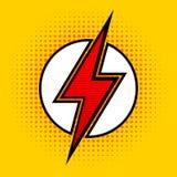 Relâmpago do vetor no estilo do pop art Sinal do super-herói ilustração stock