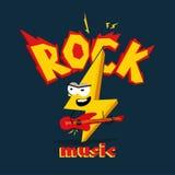 Relâmpago dos desenhos animados que joga na guitarra ` da música rock do ` do subtítulo imagem de stock