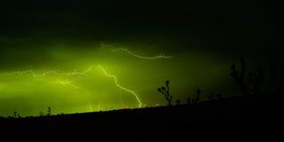 Relâmpago em explorações agrícolas de vento Imagens de Stock