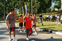 Relè della torcia dei Giochi Olimpici 2010 della gioventù Fotografia Stock Libera da Diritti