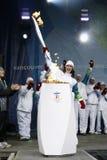 Relè della torcia di Olimpiadi di Vancouver Fotografia Stock