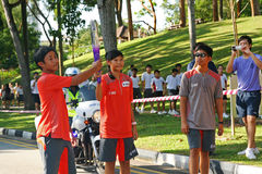 Relé da tocha dos Jogos Olímpicos 2010 da juventude Fotografia de Stock