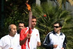 Relé olímpico da tocha em Atenas fotografia de stock royalty free