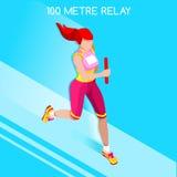 Relé running das mulheres do grupo atlético do ícone dos jogos do verão Conceito da velocidade atleta 3D isométrico Esporte do at Imagem de Stock Royalty Free