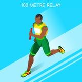 Relé running dos homens do grupo atlético do ícone dos jogos do verão Conceito da velocidade Foto de Stock Royalty Free