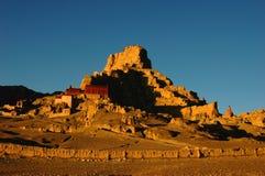 Relíquias de um castelo tibetano antigo fotos de stock