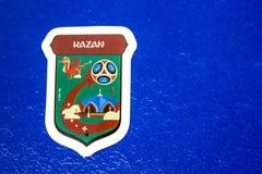 Relógio com o emblema de Kazan ao campeonato do mundo em Rússia em 2008 fotografia de stock royalty free