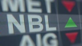 Relógio conservado em estoque de Noble Energy NBL na tela Rendição 3D editorial ilustração do vetor