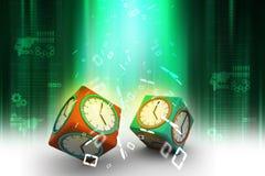 relógio 3d no cubo Imagem de Stock