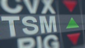 Relógio da bolsa de valores de TAIWAN SEMICONDUCTOR MANUFACTURING ADR TSM Animação loopable editorial filme