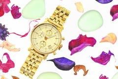 Relógio da mulher do ouro Fotografia de Stock