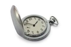 Relógio de bolso de prata no fundo branco Fotografia de Stock Royalty Free