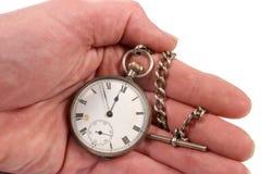 Relógio de bolso disponivel fotografia de stock