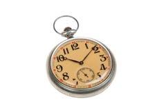 Relógio de bolso do estilo antigo, isolado no branco fotografia de stock royalty free