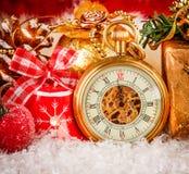 Relógio de bolso do Natal Fotografia de Stock Royalty Free
