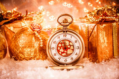 Relógio de bolso do Natal Fotos de Stock Royalty Free