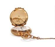 Relógio de bolso do ouro do vintage com corrente Foto de Stock