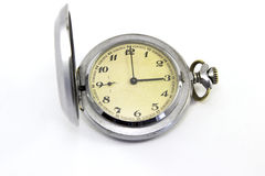 Relógio de bolso do vintage no fundo branco Fotos de Stock Royalty Free