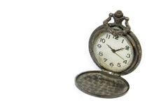 Relógio de bolso do vintage no fundo branco Fotografia de Stock