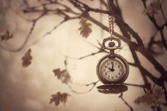 Relógio de bolso que pendura em um ramo de árvore cercado pela licença de outono Fotografia de Stock Royalty Free