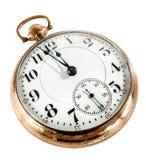 Relógio de bolso velho isolado no fundo branco Fotografia de Stock Royalty Free