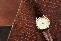 Relógio de couro Imagens de Stock Royalty Free