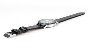 Relógio de couro luxuoso da mão dos homens isolado Fotos de Stock