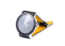 Relógio de couro luxuoso dos homens isoalted no branco Imagem de Stock
