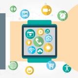 Relógio de Digitas com as funções do smartphone similar, grupo móvel do ícone Imagens de Stock