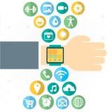 Relógio de Digitas com as funções do smartphone similar, grupo móvel do ícone Foto de Stock