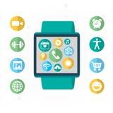 Relógio de Digitas com as funções do smartphone similar, grupo móvel do ícone Imagem de Stock Royalty Free