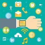 Relógio de Digitas com as funções do smartphone similar, grupo móvel do ícone Fotografia de Stock