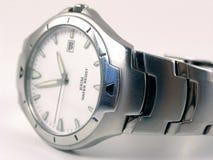 Relógio de prata ligeiramente borrado do negócio Fotografia de Stock Royalty Free
