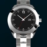 Relógio de prata no fundo escuro Foto de Stock Royalty Free