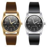 Relógio de pulso clássico do ouro e da prata Brown e correia preta no vetor branco do fundo ilustração do vetor