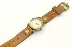 Relógio de pulso clássico isolado no branco Imagens de Stock Royalty Free